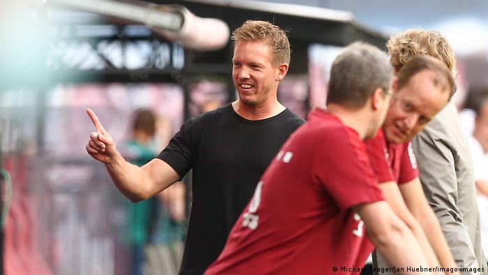 Julian Nagelsman pregame ahead of Bayern Munich's match against RB Leizpig