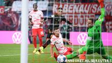 Soccer Football - Bundesliga - RB Leipzig v Bayern Munich - Red Bull Arena, Leipzig, Germany - September 11, 2021 Bayern Munich's Jamal Musiala scores their second goal REUTERS/Annegret Hilse DFL regulations prohibit any use of photographs as image sequences and/or quasi-video.