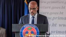 PORT-AU-PRINCE, HAITI - JULY 20: Ariel Henry speaks during a conference as he takes office as Prime Minister of Haiti at the Prime Minister's Office on July 20, 2021 in Port-au-Prince, Haiti. Henry takes power from former interim PM Claude Joseph, who took control of Haiti's government right after the assassination of President Jovenel Moïse on July 7. The new government is intended to keep stability as the country undergoes a social and political crisis. (Photo by Richard Pierrin/Getty Images)