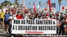 11.09.2021 ©PHOTOPQR/NICE MATIN/Cyril Dodergny ; Monaco ; 11/09/2021 ; Monaco le 11/09/2021 - Manifestation contre le Pass Sanitaire dans les rues de la Principauté. Demonstration against the authoritarianism of the government. Participants in the demonstration expressed their opposition to the health pass as well as the separatism and global security laws in France on September 11, 2021 *** Local Caption ***