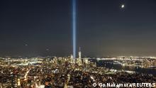 The Tribute in Light art installation is seen from Empire State Building, commemorating the 20th anniversary of the September 11, 2001 attacks, in New York City, New York, U.S., September 11, 2021. REUTERS/Go Nakamura TPX IMAGES OF THE DAY