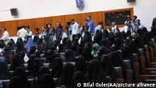 KABUL, AFGHANISTAN - SEPTEMBER 11: Women attend a program to support Taliban at Kabul Education University on September 11, 2021. Bilal Guler / Anadolu Agency