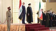 der irakische Premierminister Mustafa Al-Kadhimi reiste am 12.09.2021 in den Iran und wurde von dem iranischen Präsidenten Ebrahim Raisi in Teheran empfangen. Lizenz: ISNA (iranische Quelle/ frei)