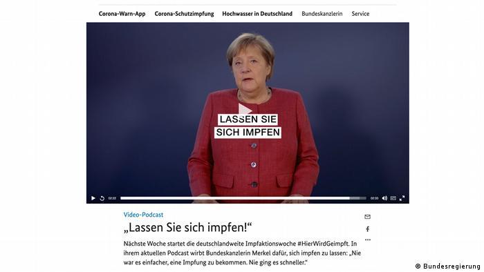 German Chancellor Angela Merkel makes her plea to the German public via video podcast