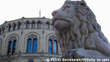 A photo taken on September 1, 2021 shows a lion statue in front of the Norwegian Parliament in Oslo, ahead of the parliamentary elections. - Norwegians go to the polls on September 13, 2021 for the legislative elections. (Photo by Petter BERNTSEN / AFP) (Photo by PETTER BERNTSEN/AFP via Getty Images)