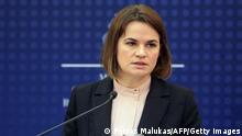 Belarusian opposition leader Svetlana Tikhanovskaya speaks during a press conference with Lithuania's Minister of Foreign Affairs (unseen) at the Ministry of Foreign Affairs in Vilnius, Lithuania, on August. 9, 2021. (Photo by PETRAS MALUKAS / AFP) (Photo by PETRAS MALUKAS/AFP via Getty Images)