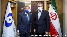 International Atomic Energy Agency (IAEA) Director General Rafael Grossi meets with head of Iran's Atomic Energy Organization Mohammad Eslami, in Tehran, Iran, September 12, 2021. WANA (West Asia News Agency) via REUTERS ATTENTION EDITORS - THIS IMAGE HAS BEEN SUPPLIED BY A THIRD PARTY.