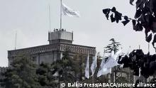 Taliban white flag is raised on the presidential palace, as seen in Kabul, Afghanistan on September 11, 2021. Photo by Balkis Press/ABACAPRESS.COM