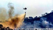 September 9, 2021: 9 September 2021 Estepona A forest firefighter has died in the forest fire in Sierra Bermeja, which is still active and has affected four municipalities in the province of Malaga -Estepona, Benahavos, Jubrique and Genalguacil-, with about 2,200 hectares of pine burned between other groves, grass and thicket. . In the extinguishing of the fire, about 200 professionals are currently operating by land, with nine heavy vehicles and 26 air assets. In addition, the Provincial Fire Brigade Consortium, under the Malaga Provincial Council, has deployed personnel. The Minister of Agriculture, Livestock, Fisheries and Sustainable Development, Carmen Crespo, has detailed that there are about 2,167 hectares of perimeter, so it - ZUMAc161 20210909_zap_c161_012 Copyright: xLorenzoxCarnerox