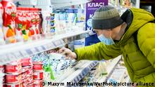 Ð¡ustomer in a supermarket wearing protective mask as a preventive measure against the coronavirus COVID-19 in one of Kyiv's supermarkets, in Kyiv, Ukraine, on March 25, 2020 (Photo by Maxym Marusenko/NurPhoto)