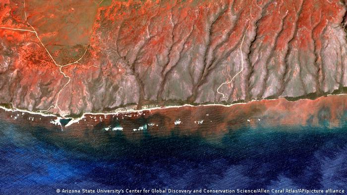 En esta imagen de satélite de 2020 proporcionada por el Centro para el Descubrimiento Global y la Ciencia de la Conservación de la Universidad Estatal de Arizona, Allen Coral Atlas, la escorrentía de la isla de Molokai, en Hawai, fluye hacia el océano.