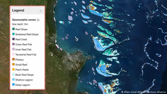 Esta captura de pantalla del 1 de septiembre de 2021, proporcionada por el Allen Coral Atlas, muestra un mapa de la Gran Barrera de Coral en Australia.