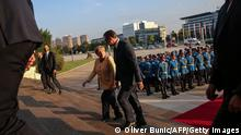 13.09.21 *** German Chancellor Angela Merkel (2nd R) and Serbian President Aleksandar Vucic (R) inspect a military guard of honour prior to their meeting in Belgrade, Serbia, on September, 13, 2021. - Angela Merkel is on a three-day visit to the Balkan States of Serbia and Albania. (Photo by OLIVER BUNIC / AFP) (Photo by OLIVER BUNIC/AFP via Getty Images)