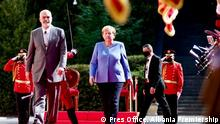German Chancellor Angela Merkel was received today in Tirana with an official ceremony in Tirana