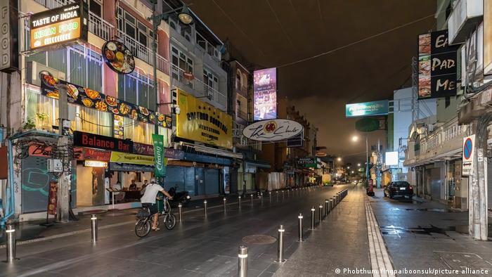 Deserted Khao San Road during lockdown, Bangkok, Thailand