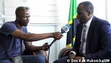 DW correspondent in Dodoma Tanzania Deo Kaji Makomba interviewing Tanzania's government spokesman Greson Msigwa on a Film featuring President Samia Suluhu Hassan to promote tourism.