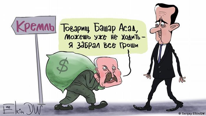 Karikatur von Sergey Elkin | Syrischer Machthaber Baschar al-Assad bei Putin
