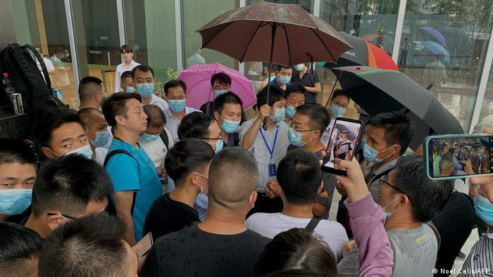 A protest at Evergrande's offices in Shenzhen