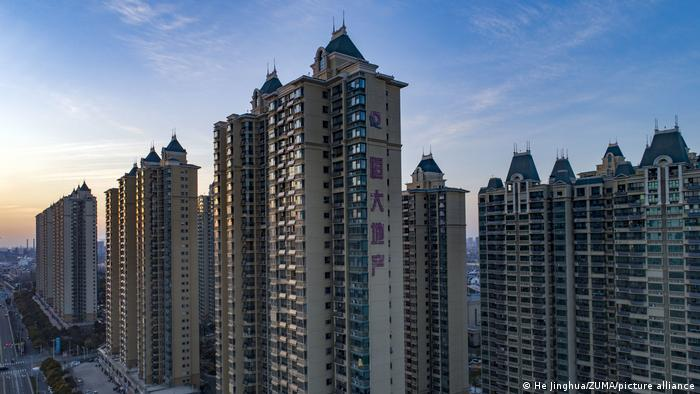 A row of apartment towers built by China Evergrande