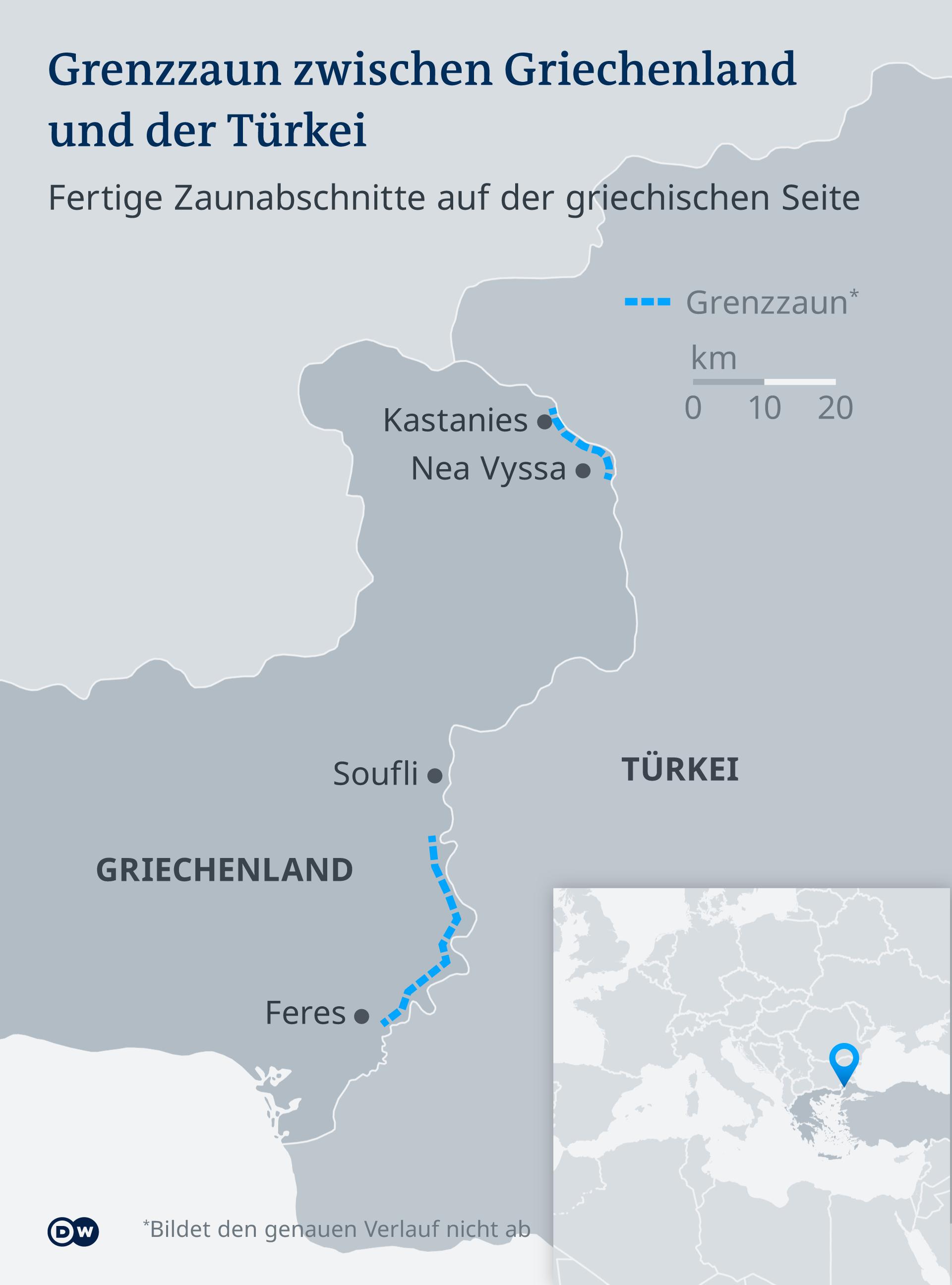 Dijelovi grčko-turske granice na kojima je izgrađena ograda