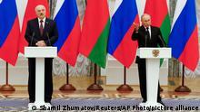 09.09.21 *** Alexander Lukaschenko (l), Präsident von Belarus, und Wladimir Putin, Präsident von Russland, nehmen an einer gemeinsamen Pressekonferenz im Kreml teil. +++ dpa-Bildfunk +++