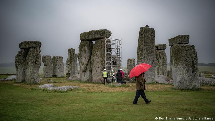 Scaffolding is set up at Stonehenge