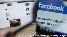 Picture of a magnifying glass on the homepage of Facebook website in Spanish language, taken in Medellin, Antioquia department, Colombia on May 12, 2012. AFP PHOTO/Raul ARBOLEDA (Photo credit should read RAUL ARBOLEDA/AFP/GettyImages)