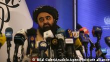 14.09.21 *** KABUL, AFGHANISTAN - SEPTEMBER 14: Mawlawi Amir Khan Muttaqi, Foreign Affairs Minister of Taliban interim government holds a press conference in Kabul, Afghanistan on September 14, 2021. Bilal Guler / Anadolu Agency