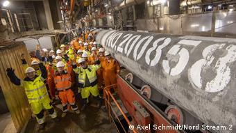 Сварка последней трубы газопровода Северный поток-2 6 сентября 2021