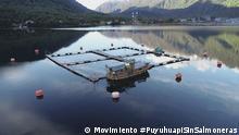 Lachsfarm Puyuhuapi Lachsfarm in Puyuhuapi. Dorf, Bucht und Fjord Puyuhuapi. Region Aysen, Patagonien, Chile. September 2021 Foto Copyright: Movimiento #PuyuhuapiSinSalmoneras