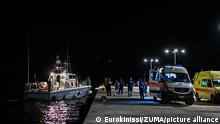 September 14, 2021, Samos island, Greece: A coast guard vessel arrives with two bodies at Pythagorio port, on the eastern Aegean island of Samos, Greece. Authorities in Greece Tuesday opened an investigation into the crash of a private plane from Israel that killed a prosecution witness in the corruption trial of former Israeli prime minister Benjamin Netanyahu. Haim Geron, a former senior official at Israel's ministry of communications, and his wife Esther were killed in the crash late Monday off the island of Samos. (Credit Image: © Eurokinissi via ZUMA Press Wire