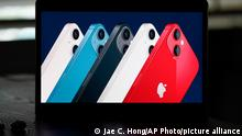 14.09.2021 Seen on the screen of a device in La Habra, Calif., new iPhone 13 smartphones are introduced during a virtual event held to announce new Apple products Tuesday, Sept. 14, 2021. (AP Photo/Jae C. Hong)