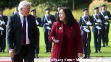 14.09.2021 Bundespräsident Frank-Walter Steinmeier empfängt im Schloss Bellevue die Präsidentin der Republik Kosovo, Vjosa Osmani, mit militärischen Ehren.