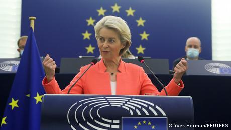 Frankreich   Ursula von der Leyen spricht im EU Parlament