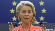 European Commission President Ursula von der Leyen delivers a speech during a debate on The State of the European Union at the European Parliament in Strasbourg, France, September 15, 2021. REUTERS/Yves Herman