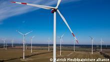 Ein Windpark in Brandenburg. (Luftaufnahme mit einer Drohne). (zu dpa: «Stilllegungen von mehr als 400 Windkraftanlagen angekündigt») +++ dpa-Bildfunk +++