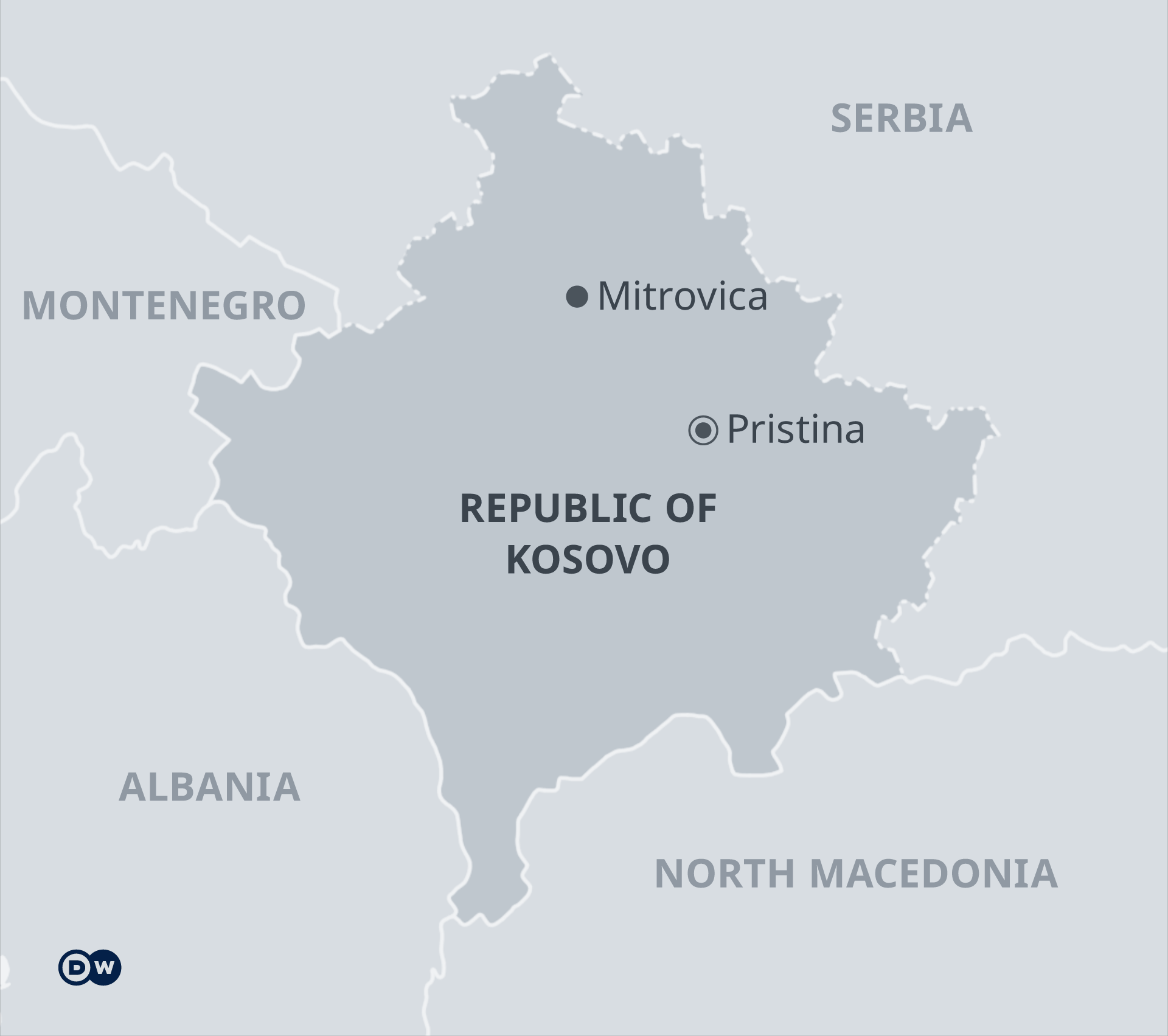 Map showing location of Kosovo, with Pristina and Mitrovican marked.