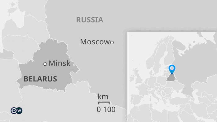 Map showing Belarus next to Russia, with both capitals marked