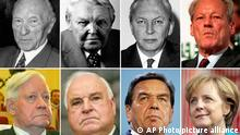 ** ARCHIV ** Die Kombo aus Archivbildern zeigt die deutschen Bundeskanzler, oben, von links, Konrad Adenauer (CDU), 1949 - 1963, Ludwig Erhard (CDU), 1963 - 1966, Kurt Georg Kiesinger (CDU), 1966-1969, Willy Brandt (SPD), 1969-1974, unten von links, Helmut Schmidt (SPD), 1974-1982, Helmut Kohl (CDU) 1982-1998, Gerhard Schroeder (SPD), 1998 - 2005, und Angela Merkel (CDU), 2005- . Angela Merkel soll am Dienstag, 22. Oktober 2005, als erste Frau an die Spitze der Bundesregierung gewaehlt werden. (AP Photos) -----** FILE * Combo from files shows, top from left, German chancellors Konrad Adenauer, Christian Democratic Party (CDU), Chancellor from 1949 until 1963, Ludwig Erhard (CDU), 1963-1966, Kurt Georg Kiesinger (CDU), 1966-1969. Willy Brandt of the Social Democratic Party (SPD), 1969-1974, bottom from left, Helmut Schmidt (SPD), 1974-1982, Helmut Kohl (CDU) 1982-1998, Gerhard Schroeder (SPD), 1998 - 2005, and Angela Merkel (CDU), 2005- . On Tuesday, Nov. 22, 2005, Angela Merkel is to be elected as first female German chancellor. (AP Photos)