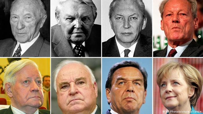 صدراعظمهای آلمان در بین سالهای ۱۹۴۹ تا ۲۰۲۱ در یک نگاه؛ ردیف بالا از چپ: کنراد آدناوئر (۱۹۴۹ تا ۱۹۶۳)، لودویگ ارهارد (۱۹۶۳ تا ۱۹۶۶)، کورت کیسینگر (۱۹۶۶ تا ۱۹۶۹) و ویلی برانت (ا۹۶۹ تا ۱۹۷۴). ردیف پایین از چپ: هلموت اشمیت (۱۹۷۴ تا ۱۹۸۲)، هلموت کهل (۱۹۸۲ تا ۱۹۹۸) ، گرهارد شرودر (۱۹۹۸ تا ۲۰۰۵) و آنگلا مرکل (۲۰۰۵ تا ۲۰۲۱).