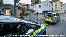 16.09.21 *** Polizeifahrzeuge stehen vor der Synagoge in Hagen. Die besonderen Einsatzmaßnahmen der Polizei vor der Hagener Synagoge sind in der Nacht abgeschlossen worden. Die Polizei ist dennoch weiterhin präsent. +++ dpa-Bildfunk +++