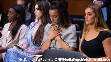 15.09.21 *** US Olympic gymnasts (L-R) Simone Biles, McKayla Maroney, Aly Raisman and Maggie Nichols, arrive to testify during a Senate Judiciary hearing about the Inspector General's report on the FBI handling of the Larry Nassar investigation of sexual abuse of Olympic gymnasts, on Capitol Hill, September 15, 2021, in Washington, DC. Credit: Saul Loeb / Pool via CNP /MediaPunch