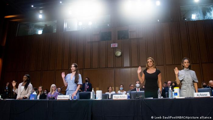 US Olympic gymnasts Simone Biles, McKayla Maroney, Maggie Nichols, and Aly Raisman, are sworn in to testify during a Senate Judiciary hearing about the Inspector General's report on the FBI handling of the Larry Nassar investigation of sexual abuse of Olympic gymnasts