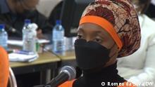 Ângela Leão spricht vor Gericht in Maputo, Mosambik, über ihre Verbindung zum Unternehmen Privinvest. Privinvest ist in Mosambik in einen Korruptionsskandal verwickelt. Fotograf: Unser Korrespondent Romeu da Silva, 16.09.2021, Maputo, Mosambik.
