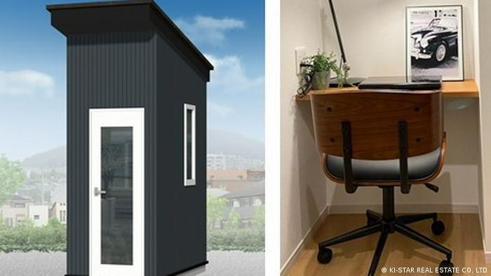 Este edificio independiente contiene una sala compacta que cuenta con un banco en un extremo diseñado para el teletrabajo.