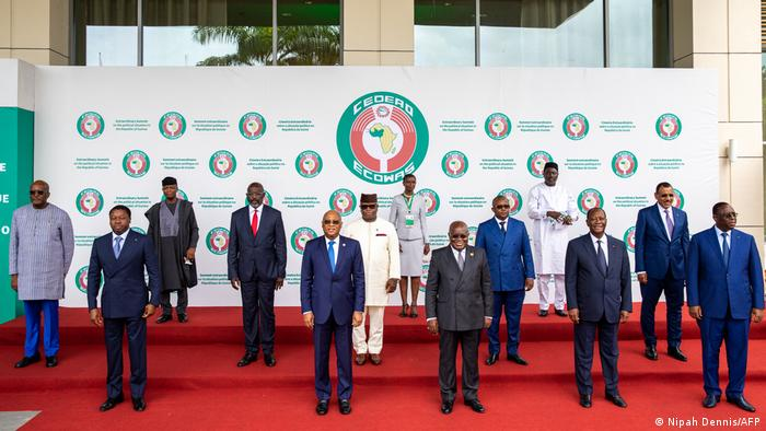 Leaders of the ECOWAS member states standing for a photograph before Thursday's summit in Accra, Ghana