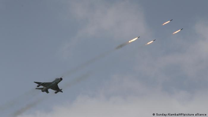 Nigerian fighter jets displays fire power during an event in 2017
