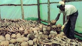 A Rwandan worker arranges human bones and skulls in Kigali, Rwanda, Thursday, April 6, 2000. Across this Central African nation, survivors of the 1994 genocide are excavating pits, yards and septic tanks, retrieving corpses of some of the more than half-million victims for a dignified reburial. (AP Photo/Sayyid Azim)