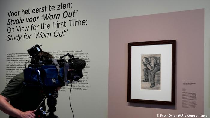 A cameraman records the newly discovered Van Gogh drawing