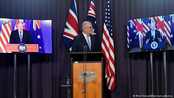美国总统拜登、澳大利亚总理莫里森和英国首相约翰逊